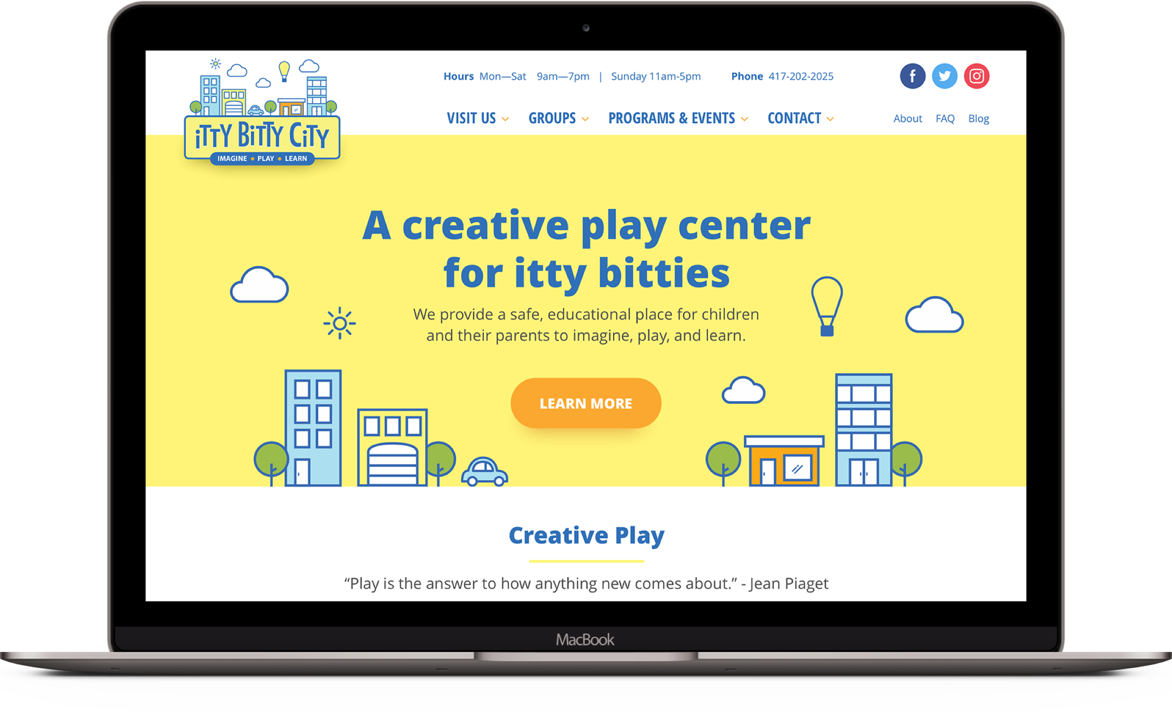 Web design for Itty Bitty City in Springfield Mo