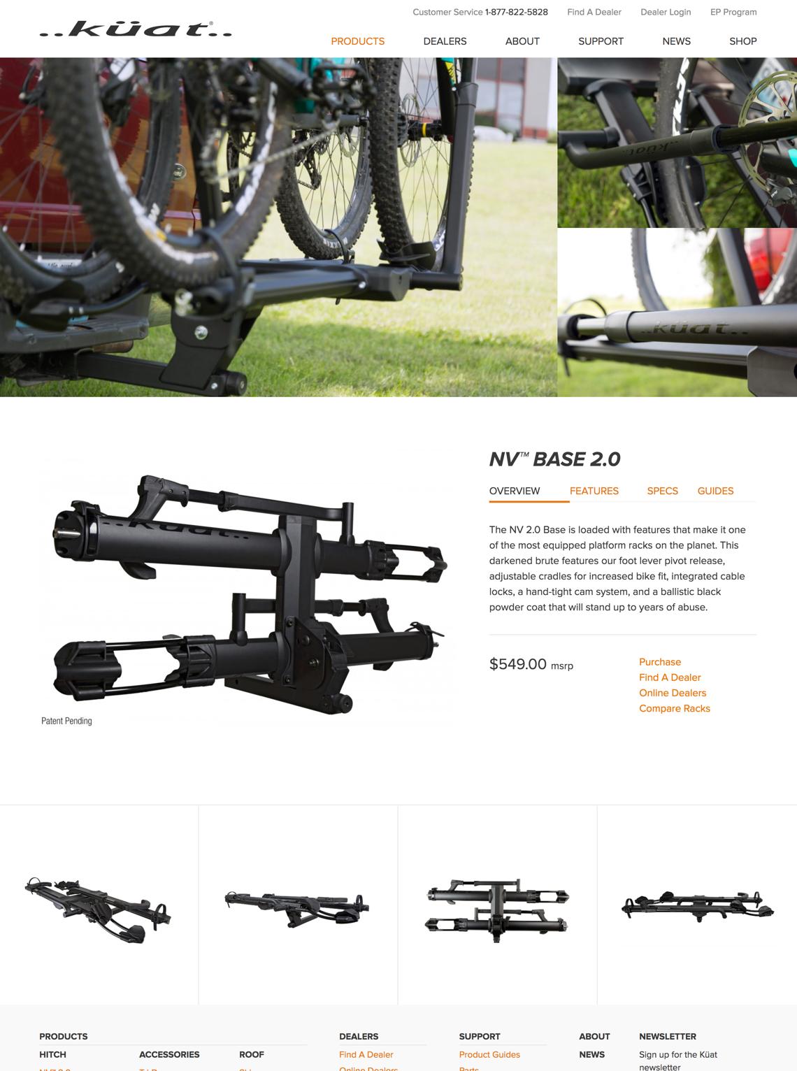 Kuat Racks NV website design