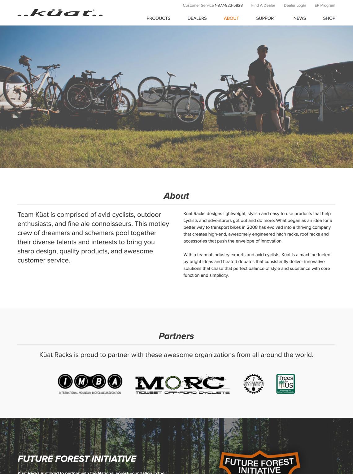 Kuat Racks website design