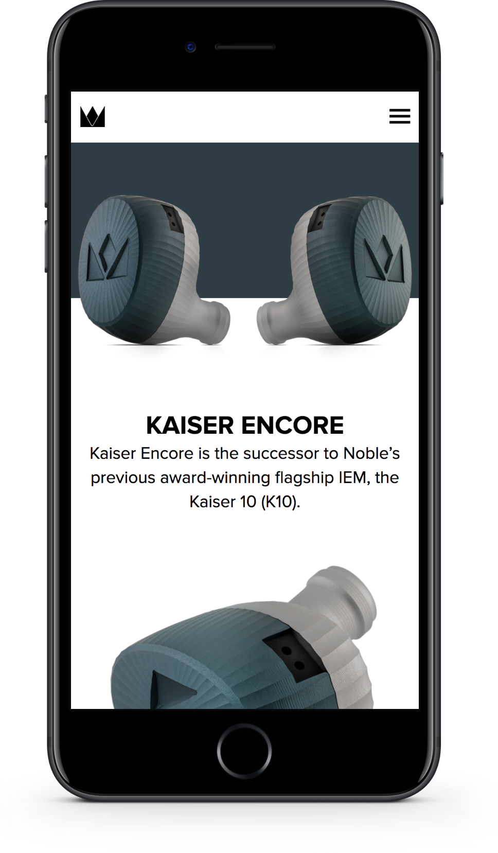 Mobile web design for Noble Audio