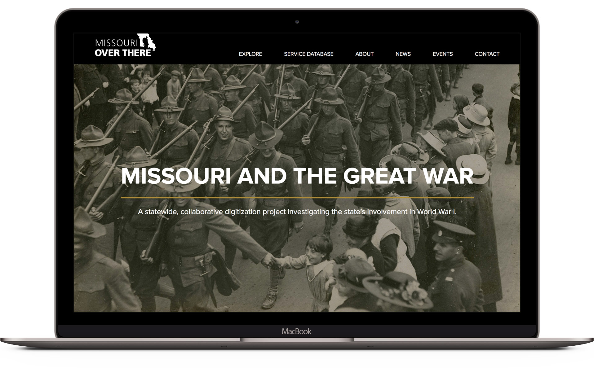 Home page design for Missouri Over There website